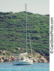 Sailing yacht on the bay.