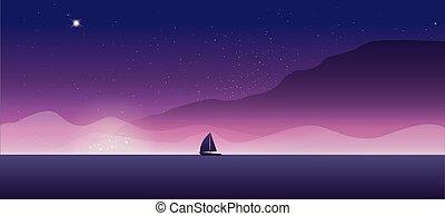 Sailing yacht on the horizon. Landscape sunset