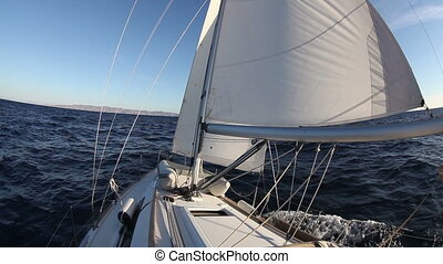 Sailing yacht on the race in sea - Sailing yacht on the race...