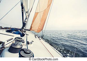 Sailing yacht on the race