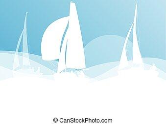 Sailing yacht race vector