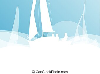 Sailing yacht race vector background transportation...