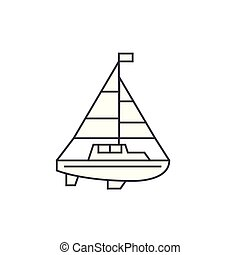 Sailing yacht thin line icon concept. Sailing yacht linear vector sign, symbol, illustration.