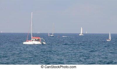 Sailing yachts on blue sea pattern