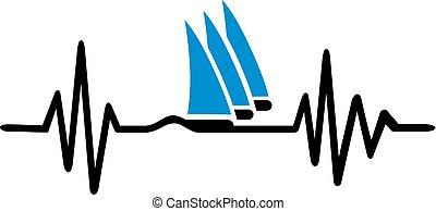 sailingboat, battito cardiaco, linea, onde