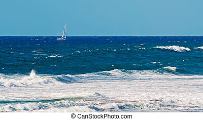 sailinig in the rough sea