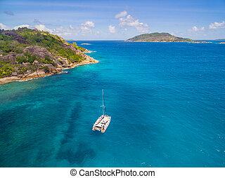 sailling, katamaran, antena, coastline, prospekt