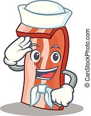 Sailor bacon character cartoon style