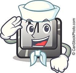 Sailor button M on a keyboard mascot