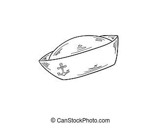 sailor cap - sketch of the sailor cap with anchor, vector