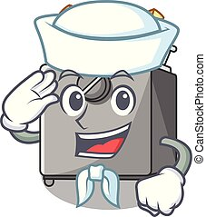 Sailor cartoon deep fryer in the kitchen vector illustration