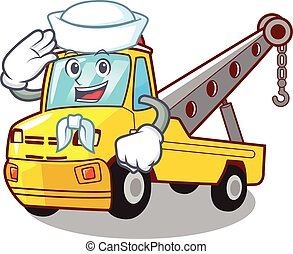 Sailor Cartoon tow truck isolated on rope
