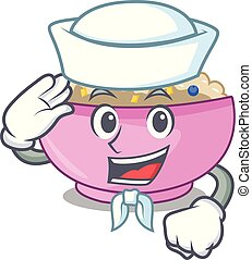 Sailor character a bowl of oatmeal porridge