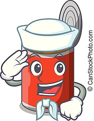Sailor character canned food isolated on cartoon