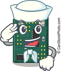 Sailor circuit board pcb isolated with mascot vector...