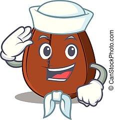 Sailor coffee bean character cartoon