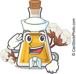 Sailor cottonseed oil in a mascot bottle vector illustration