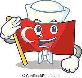 Sailor flag turkey character on shaped cartoon