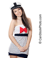 Sailor girl isolated on white background