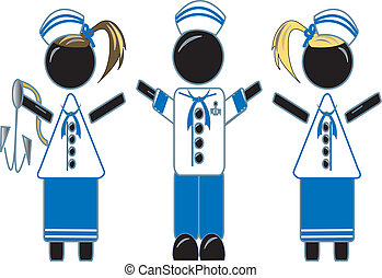 Sailor Girls And Boy - simple drawing of sailor girl and boy...
