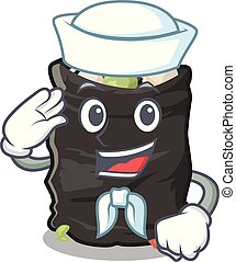 Sailor grabage bag isolated with the mascot vector illustration