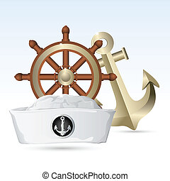 illustration of sailor hat with steering wheel and anchor