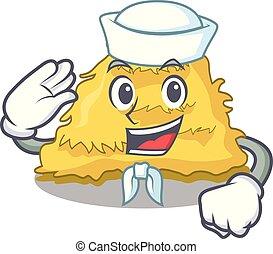 Sailor hay bale character cartoon vector illustration