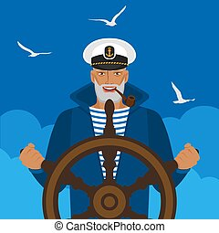 Sailor in a cap with pipe at helm of ship