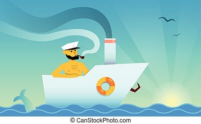 Sailor in the boat - sunshine holiday