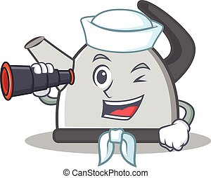 Sailor kettle character cartoon style vector illustration