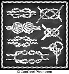 Sailor knot set. Chalk board effect. Corner element. Rope...