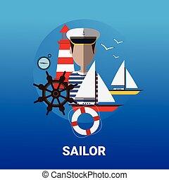 Sailor Man Icon Sail Ship Crew Concept Flat Vector...