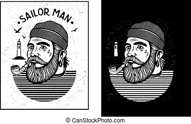 Sailor man with pipe - Portrait of bearded sailor with...