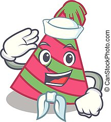 Sailor party hat character cartoon vector illustration