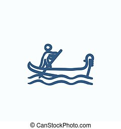 Sailor rowing boat sketch icon.