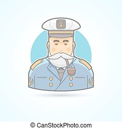 Sailor, ship captain, flag officer, sea dog, man in uniform with smoking pipe icon. Avatar and person illustration. Flat colored outlined style.