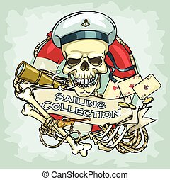 Sailor skull logo design - Sailing Collection