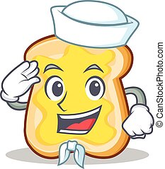 Sailor slice bread cartoon character vector art illustration