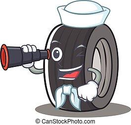 Sailor tire character cartoon style