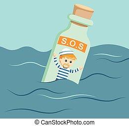 sailor trap in sos bottle