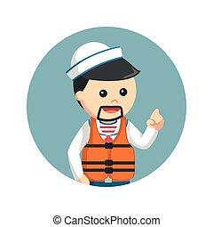 sailor wearing life jacket in circle background