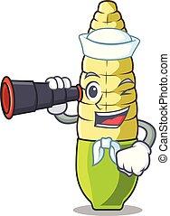 Sailor with binocular baby corn cartoon in the fridge