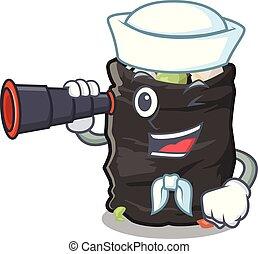 Sailor with binocular cartoon garbage bag next to table vector illustration