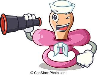 Sailor with binocular cartoon pacifier for a newborn baby
