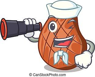 Sailor with binocular cooked grilled beef steaks in cartoon...