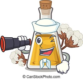 Sailor with binocular cottonseed oil in the cartoon shape ...
