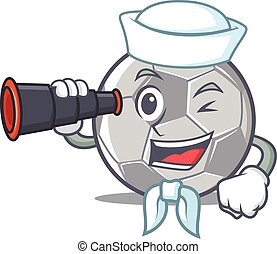 Sailor with binocular football character cartoon style