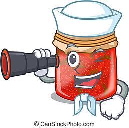 Sailor with binocular fresh tasty strawberry jam on mascot...