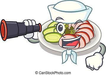 Sailor with binocular peking dunking fried in mascot pan