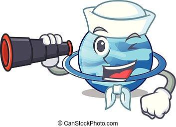 Sailor with binocular planet uranus in the cartoon form...